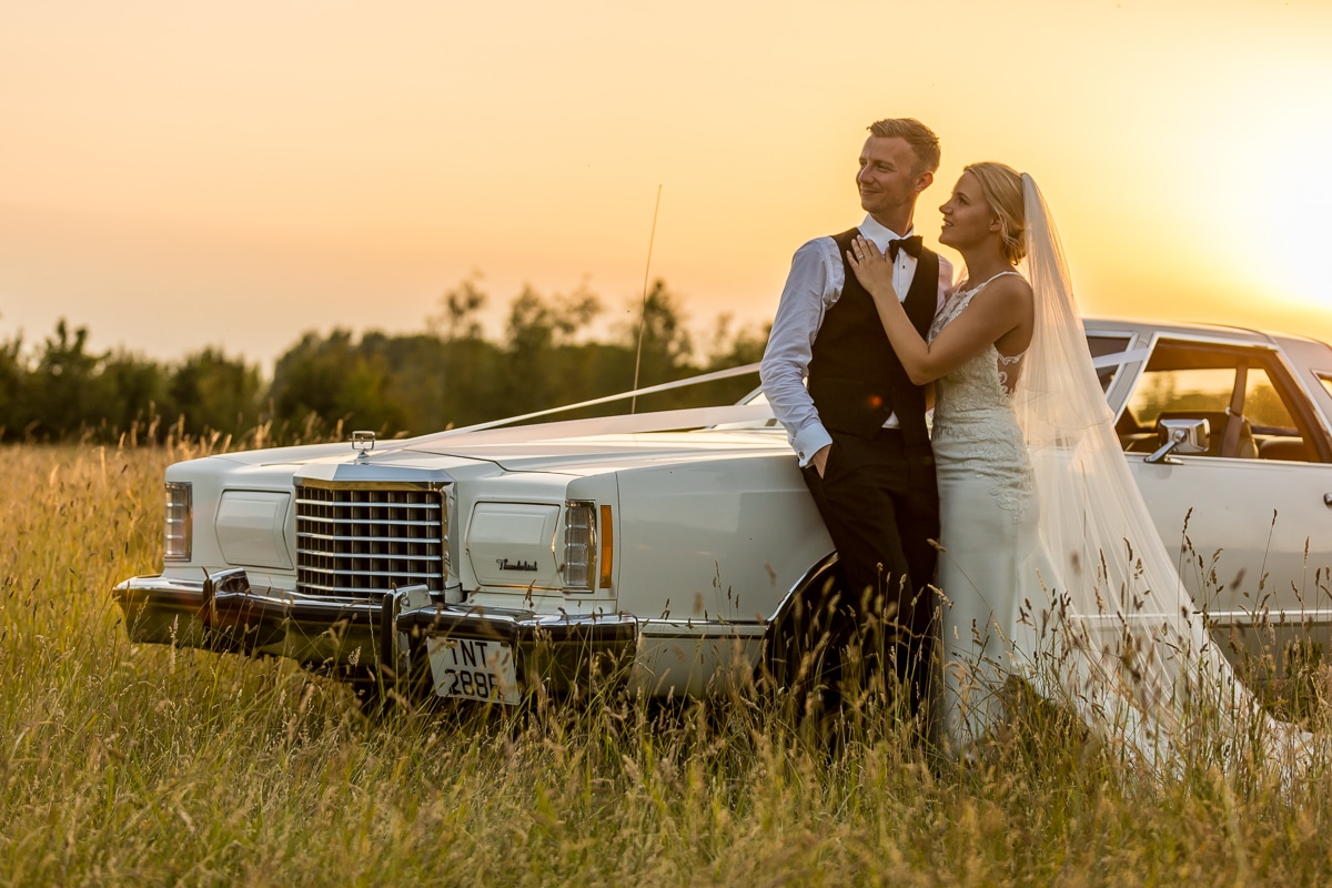 Sunset, wedding portrait, golden hour, American car