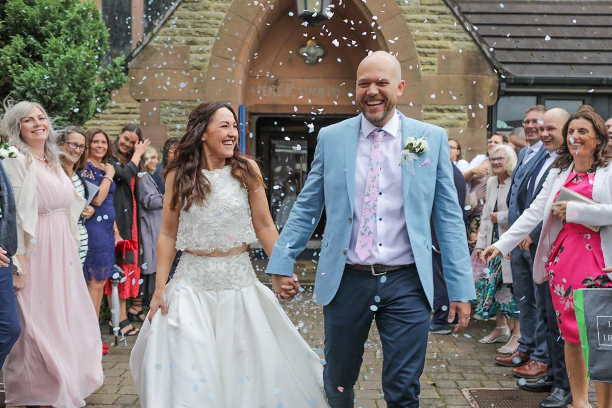 Confetti - bride and groom